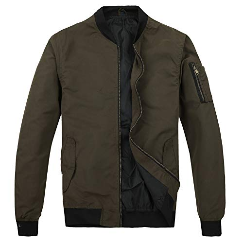 - MADHERO Men's Lightweight Bomber Jacket Slim Fit Softshell Windbreaker (Olive Green,M/44)