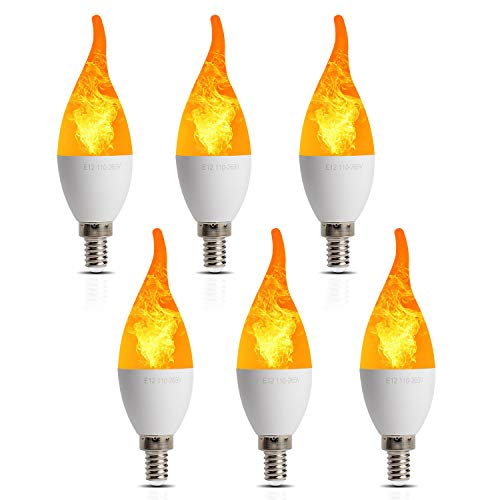 6 Pack LED Simulated Fire Flicker Flame Candelabra Bulbs,Flickering E12 Flame Effect Light,3 Lighting Modes Emulation, General, Breathing,for Indoor and Outdoor Decoration e.g. Home Hotel Bar -