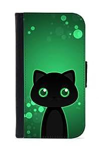 Case Fun Samsung Galaxy S4 (i9500) Faux Leather Wallet Case - Black Cat by DevilleART