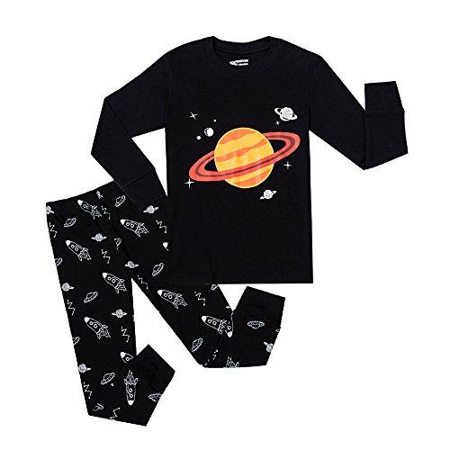 Phoebe Cat Space Earth Big Boys Pajamas Sets Kids Pjs 100% Cotton Clothes (Black, 12T)