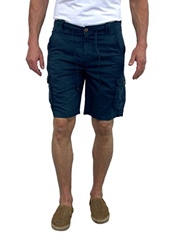 Short Fin Men's Linen Cargo Shorts (Slate Blue, Size 38 L8002) by Short Fin