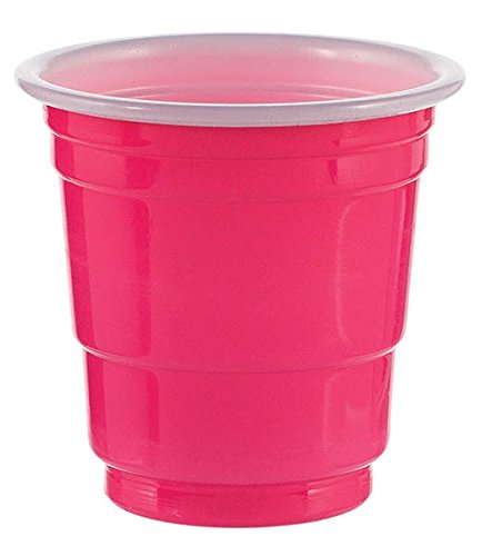 2 Ounce Bright Pink Plastic Shot Glasses 30-Pack Dishwasher Safe Amscan