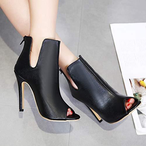 HBDLH Damenschuhe Ausgehöhlt Fisch Im Mund Schuhe 11Cm Mit Hohen 11Cm Schuhe Sexy Kurze Stiefel Super-High-Heels Dünnen Absätzen Nackte Stiefel. 2c65a4