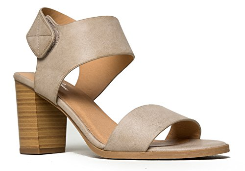 Environmental Enclosure - Peep Toe Sandal - Low Stacked Heel - Open Toe Ankle Heel Cutout Velcro Enclosure by J. Adams (Cement Nubuck Pu) (7.5)