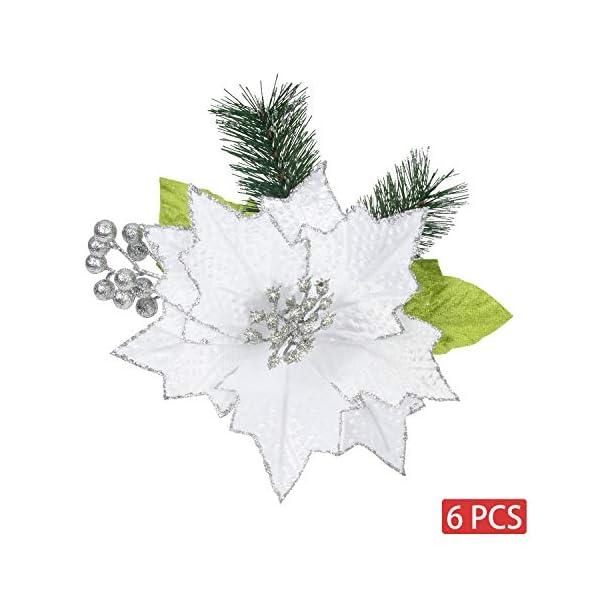 KI Store Christmas Poinsettia 6pcs Artificial Flower Picks Spray for Christmas Tree Decoration Wreath Garland (White, 9-Inch)
