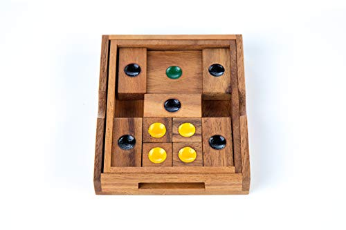 Khun-Pan Sliding Handcraft 3D Brain Teaser Wooden Games and Puzzles Medium Size with Gift Box ()