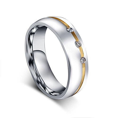Beydodo Titanium Rings Set for Women Stainless Steel Ring Bands Round CZ Women Size 7 & Men Size 12 by Beydodo (Image #4)