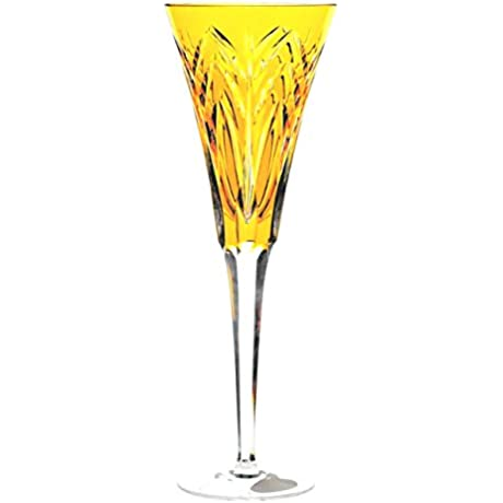 Ajka Yellow Gold Cased Crystal Wine Champagne Toasting Flutes Set Of 6