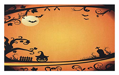 Ambesonne Vintage Halloween Doormat, Halloween Themed Image Eerie Atmosphere Gravestone Evil Pumpkin Moon, Decorative Polyester Floor Mat with Non-Skid Backing, 30 W X 18 L Inches, Orange Black ()