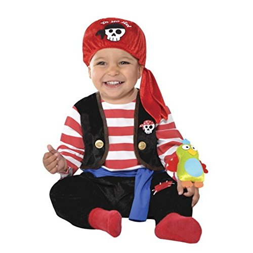 [Baby Buccaneer Halloween Costume Pirate with Parrot Rattle] (Parrot Infant Costumes)