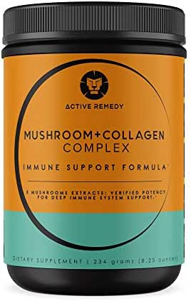 100% Grass Fed Collagen Powder Mushroom Complex – Pure 5 Mushroom Supplement Immune System Booster w/Collagen Peptides Powder for Immune Support & Gut Health– Makes a Great Low Acid Coffee Substitute