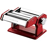 Ovente PA515R Vintage Stainless Steel Pasta Maker, 150mm, Metallic Red