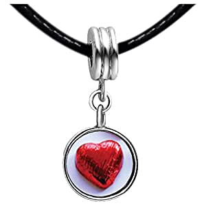 Chicforest Silver Plated Wrapped Heart Candy Photo White Crystal(April Birthstone) Flower dangle Charm Beads Bracelets European Bracelets Compatible