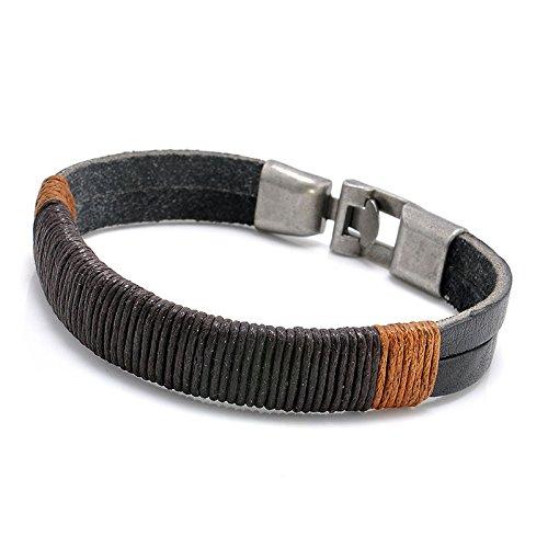 Brown Leather Surfer Necklace - ERAWAN New Surfer Men's Vintage Hemp Wrap Leather Wristband Bracelet Cuff Black Brown EW sakcharn (Black)