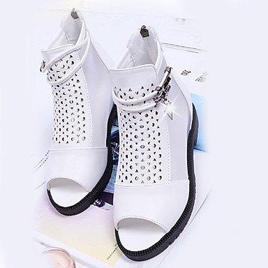 Sandalias de mujeres el consuelo de verano PU talón plano exterior blanco y negro White