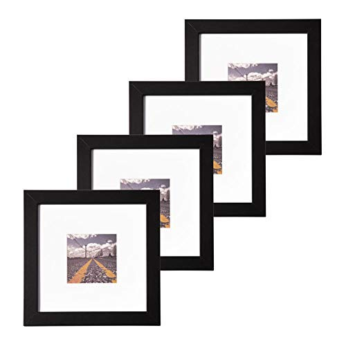 Muzilife 8x8 Wood Picture Frame - Flat Profile - Set of 4 - for Picture 4x4 with Mat or 8x8 Without Mat (Black)