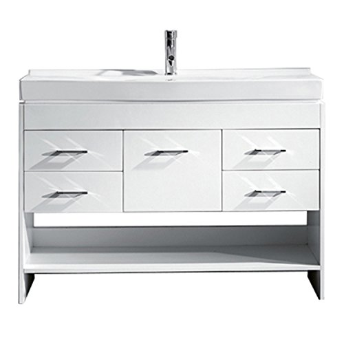 Virtu USA Gloria 48 inch Single Sink Bathroom Vanity Set in White w/Integrated Square Sink, White Ceramic Countertop, Single Hole Polished Chrome, 1 Mirror - MS-575-C-WH