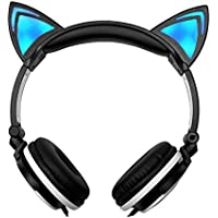 Cat Ear Headphone Foldable Stereo Wired Over Ear Kids Headphone Flashing Glowing Gaming Headphone with LED Light for PC Laptop Computer Cell Phone