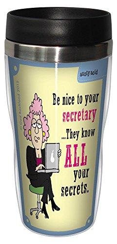 (Tree-Free Greetings 16-Ounce Sip 'N Go Stainless Lined Travel Mug, Aunty Acid Nice To Secretary (SG78560))