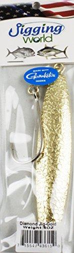 Jigging world Gold Hammered Diamond Jigs with Gamakatsu siwash Hook 3oz