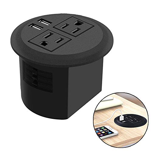 Power Grommet, Table Power Outlet with USB, Desktop Power Strip 2 US Plugs & 2 USB Ports for Computer, Desk/Table, Kitchen, Office,Home,Hotel and More