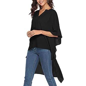 SHERONV Women's High Low Loose Tunic Tops Oversized V Neck Blouse Cover Ups - Black - Medium