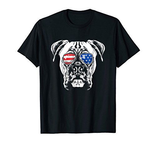 Boxer Dog American Flag Glasses T-Shirt 4th of July ()