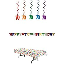 70th Birthday Party Decoration Kit: Bundle Includes Banner, Table Cover, and Whirls