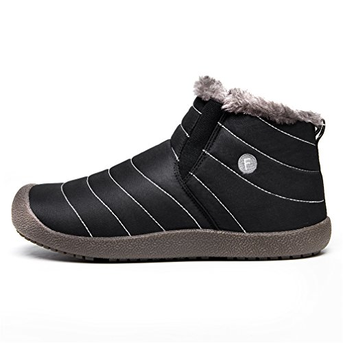 UBFEN Warm Snow Boots Men's Women's Winter Outdoor Sport Shoes With Soft Fur Waterproof Ankle Bootie Black olcDR9LLB