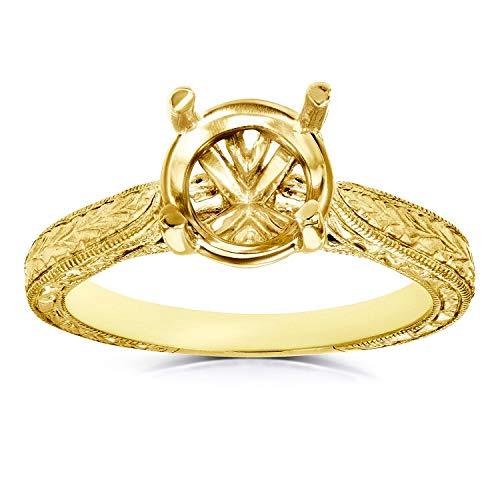 Diamond Semi Mount Engagement Ring Vintage Engraved Antique Style, 14k Yellow Gold (No Center Stone), 4.5