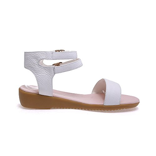 AllhqFashion Womens Cow Leather Solid Buckle Open Toe Low-heels Sandals White 2eYSUNS