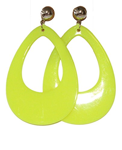 Neon Nation Circular Oval Earring w/ Silver Top 1980s Costume Party (Yellow)