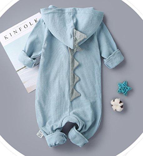 Newborn Baby Boys Girls Cartoon Dinosaur Hoodie Romper Onesies Jumpsuit Outfits size 6-9Months/73 (Blue)