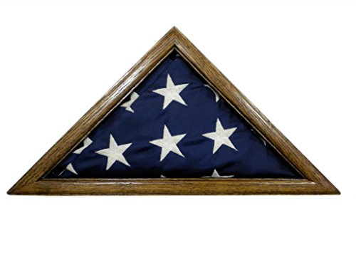 Solid Oak Flag Display Case for 3 x 5' Nylon Flag - Military Missions or State Capital Size USA Made ()