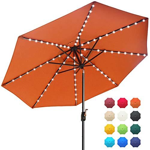 EliteShade Sunbrella Solar Umbrellas 9ft Market Umbrella with 80 LED Lights Patio Umbrellas Outdoor Table Umbrella with Ventilation and 5 Years Non-Fading Guarantee,Rust (Umbrellas Table Outdoor)