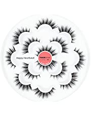 3D Valse Wimpers Piekerig Natuurlijk-Luxe Faux Mink Wimpers-Cat Eye Zachte Pluizige Dramatische Valse Wimpers 7 Paar-Happy Heartbeat (YC)