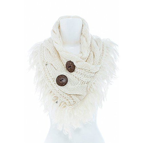 Women's Winter Warm Button Accent Cable Knit Infinity Scarf - YS3680 (Ivory) (Crochet Pattern For Infinity Scarf With Buttons)
