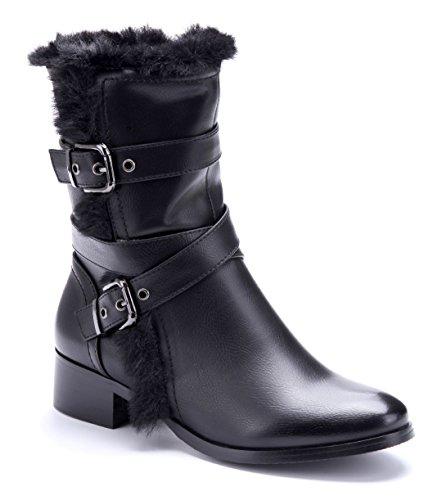 Schuhtempel24 Damen Schuhe Winterstiefeletten Stiefel Boots Blockabsatz Schnalle 4 cm Schwarz