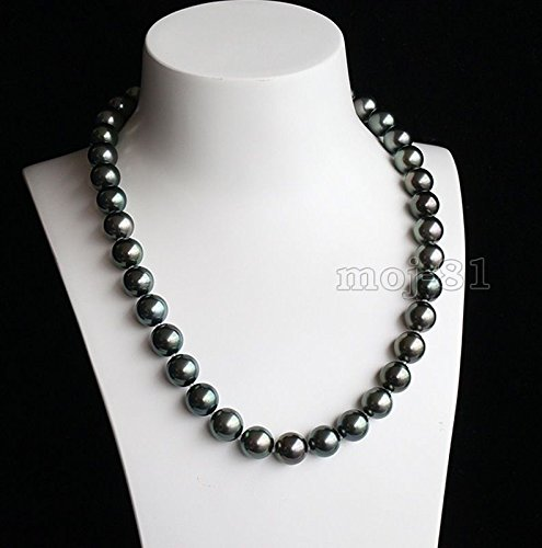 Genuine Seashell Pearl Necklace (Rare Huge 12mm Genuine Black Round South Sea Shell Pearl Necklace 18'' AAA)