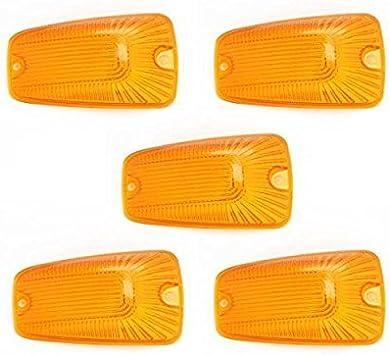 Amber KMA CAB LIGHTS-103 KOMAS 5pcs Top Roof Light Cab Clearance Marker Cover Lens for 1988-2002 Chevy//GMC C//K1500//2500//3500//4500//5500//6500//7500 Kodiak Topkick Trucks