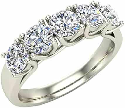 60bc3c4b3d46 Diamond Band 14K White Gold Five Stone Wedding Ring Trellis Setting 1.10 ctw  (G