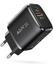 USB C-laddare, AGPTEK 20 W Dual Port USB C strömförsörjning, snabbladdare med USB C och USB A-kontakt, kompatibel med AirPods Pro, iPad, iPhone 12/12 Mini/12 Pro Max/11/XR/X, inställning, Huawei etc. Svart
