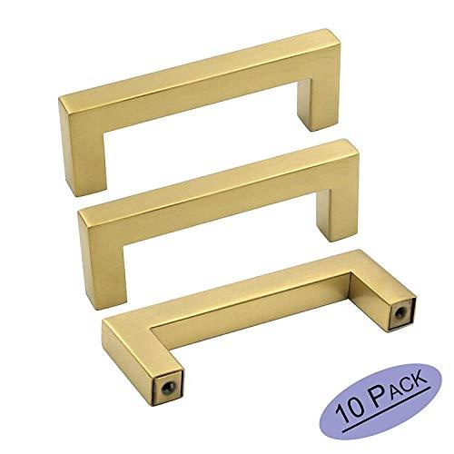 goldenwarm 10 Pack Brushed Brass Cabinet Handles Gold Drawer Pulls - LSJ12GD115 Furniture Cupboard Door Handles 4-1/2 Hole Centers Handle for Dresser Square Closet Door Handle (2-5 Inch Center To Center Drawer Pulls)