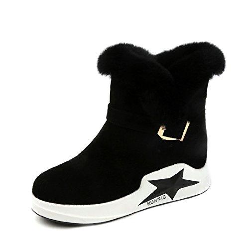 En O & N Mujer Chica Bota De Nieve De Piel Sintética Forrada De Invierno Cálido Ankel Botas Zapatos Negro