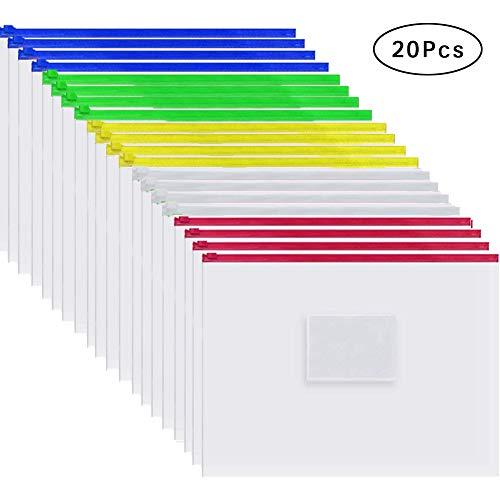 Cooldool 20 Pcs Plastic Poly Zip Envelope File Folder Bags,Letter Size,5 Color ()