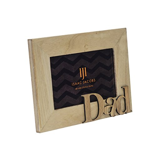 Isaac Jacobs Natural Wood Sentiments Picture Frame, 4x6 inch (Dad 4x6 inch, Natural)