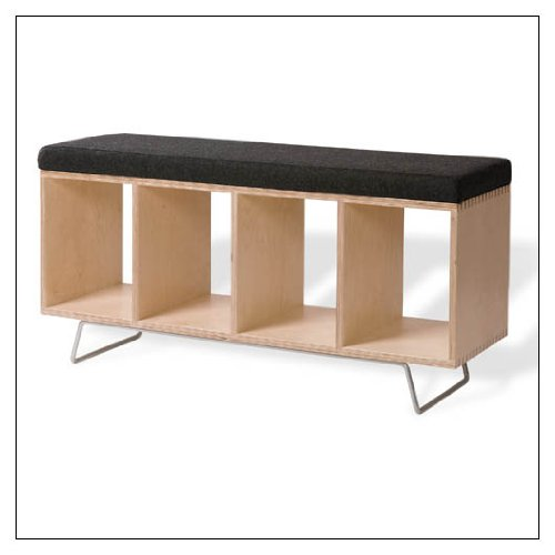 OFFI Birch Bench Box with Upholstered Pad, fabric = Gray Wool; supports = Legs