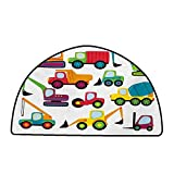 Large Floor Mats for Living Room Colorful Construction,Cute Style Vehicles and Heavy Equipment Forklift Earthmover Excavator Mixer,Multicolor,W30 x L18 Half Round Outdoor Camping Rugs -  DayOn Rugs