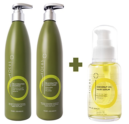 Perfect Hair Natural Shampoo and Conditioner PLUS Coconut Oil Hair Serum Combo – Scientifically Formulated to Strengthen and Promote Healthy Hair Growth - Perfect for All Hair Types (Conditioner Vitamins Plus Scalp)