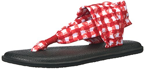 Flip Flop Yoga White Women's Gingham Sanuk Sling 2 Red aXIpnZq